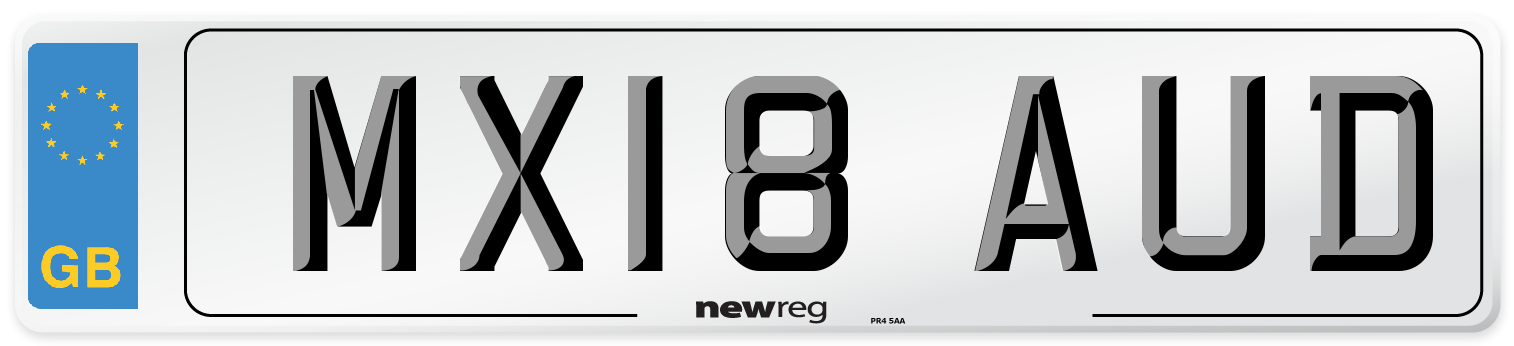 MX18 AUD Number Plate from New Reg