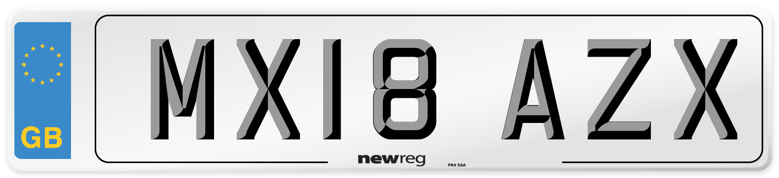 MX18 AZX Number Plate from New Reg
