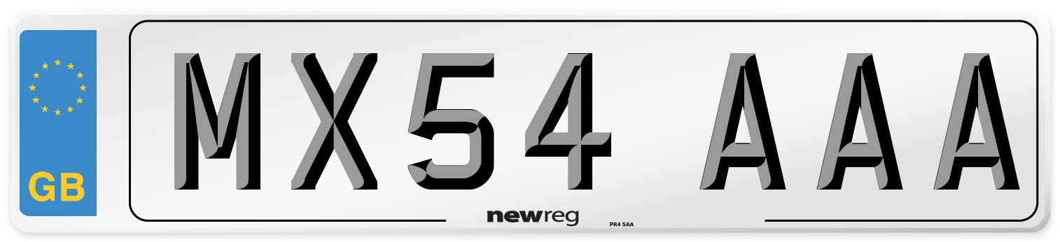 MX54 AAA Number Plate from New Reg