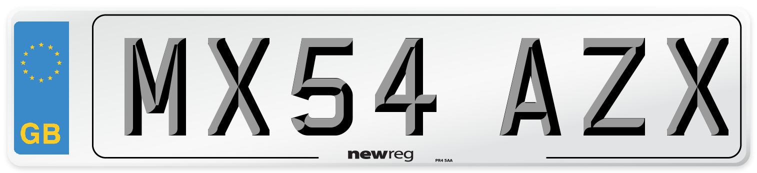 MX54 AZX Number Plate from New Reg