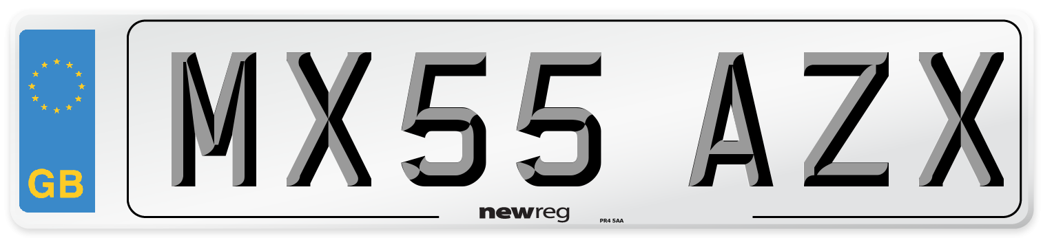 MX55 AZX Number Plate from New Reg