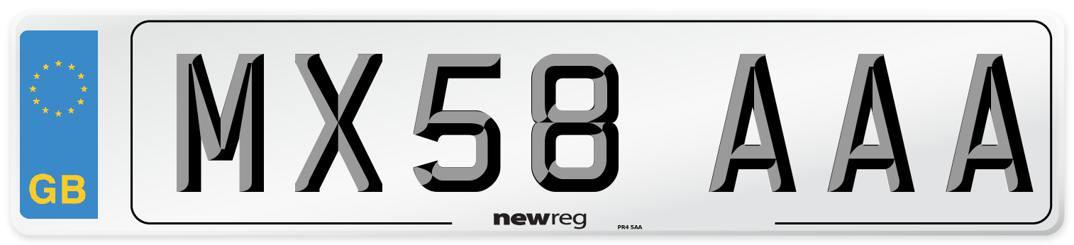 MX58 AAA Number Plate from New Reg