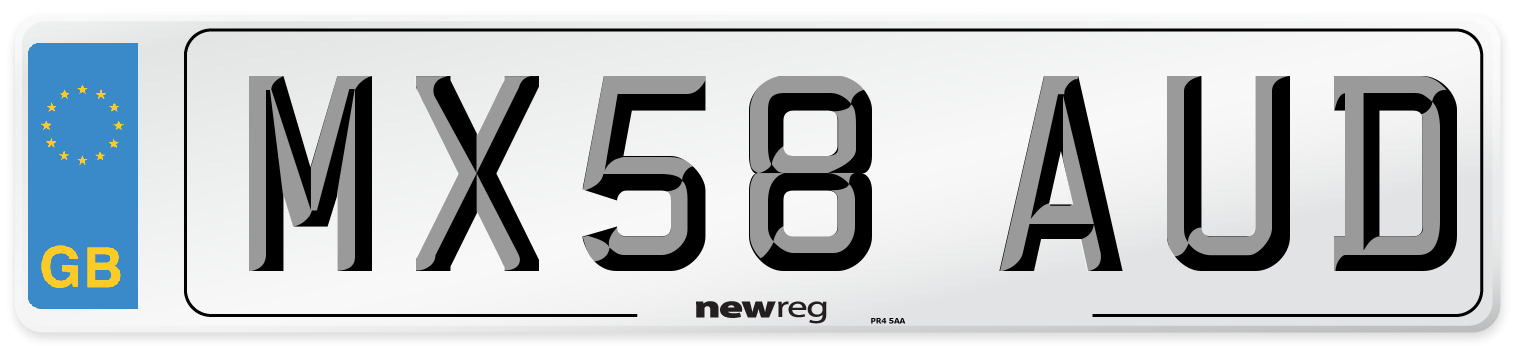 MX58 AUD Number Plate from New Reg