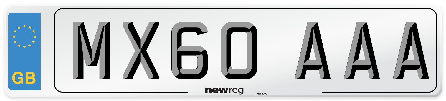 MX60 AAA Number Plate from New Reg