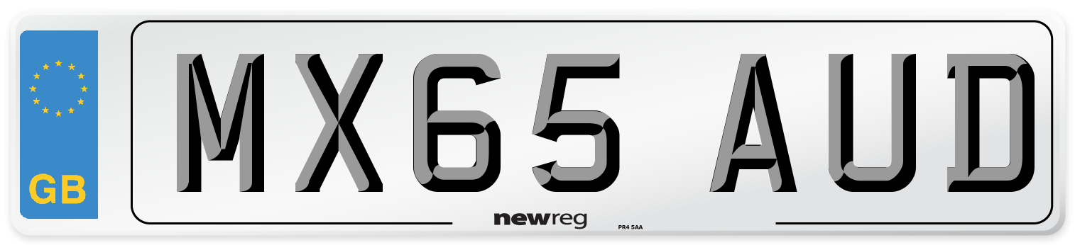 MX65 AUD Number Plate from New Reg