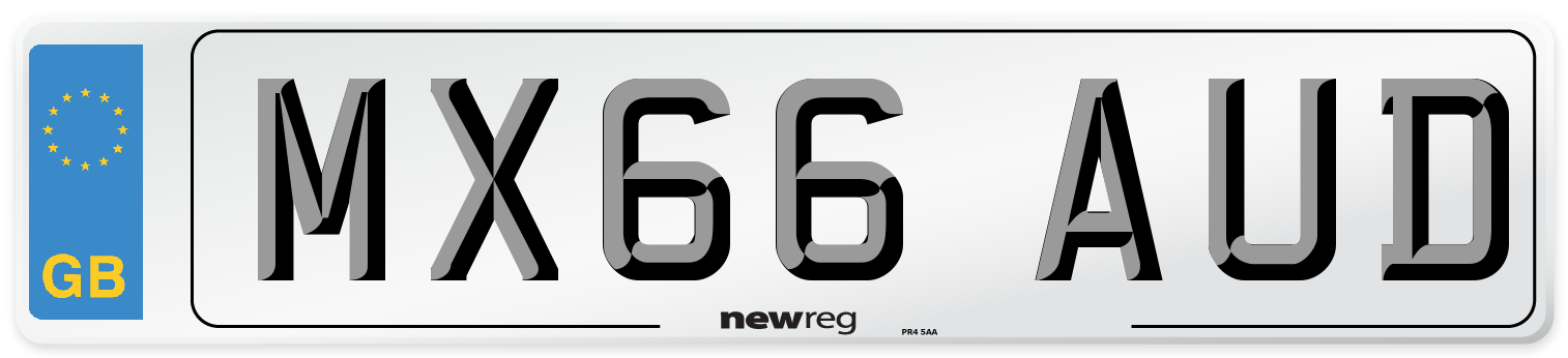 MX66 AUD Number Plate from New Reg