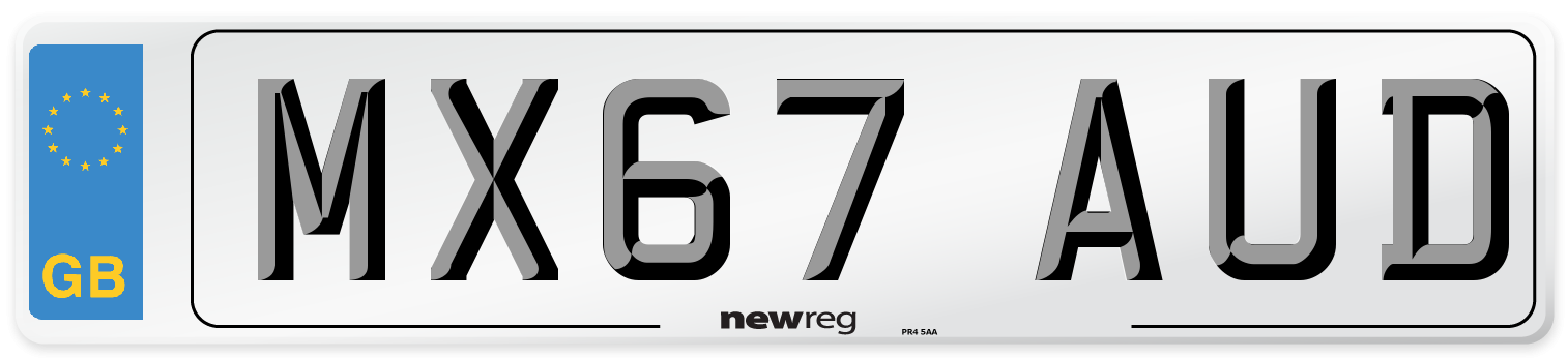 MX67 AUD Number Plate from New Reg