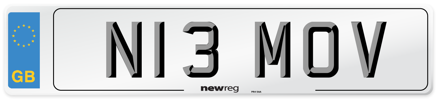 N13 MOV Number Plate from New Reg