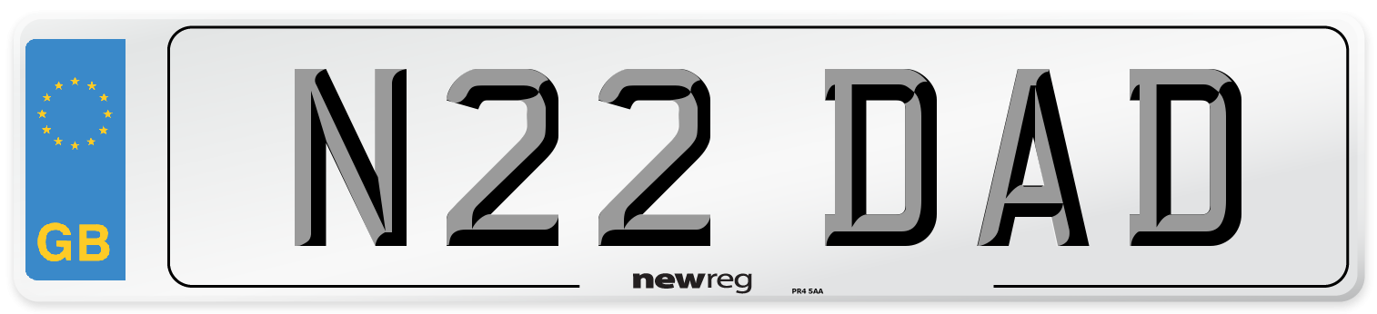 N22 DAD Number Plate from New Reg