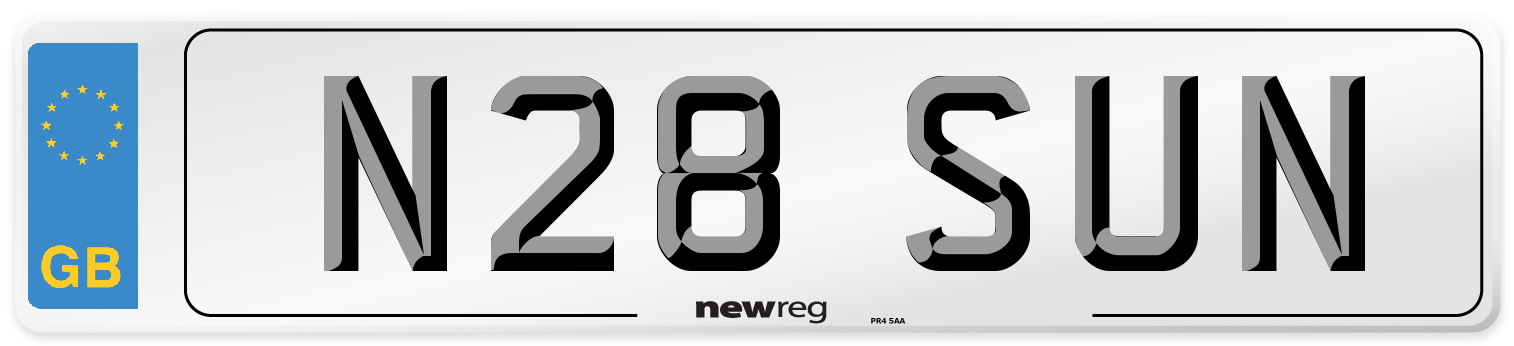 N28 SUN Number Plate from New Reg
