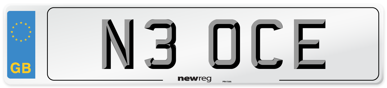 N3 OCE Number Plate from New Reg