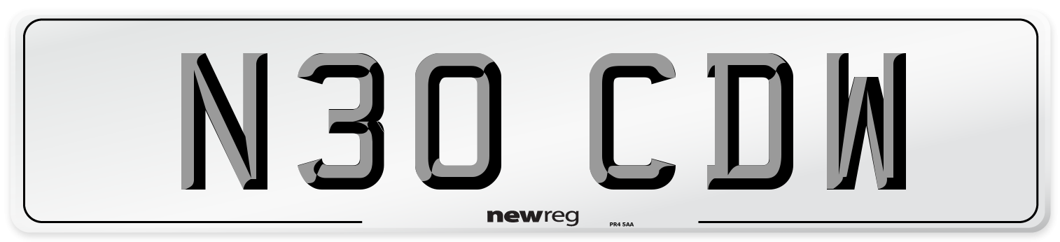 N30 CDW Number Plate from New Reg