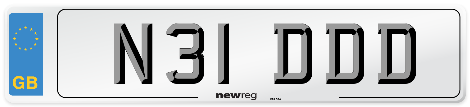 N31 DDD Number Plate from New Reg