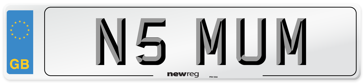 N5 MUM Number Plate from New Reg