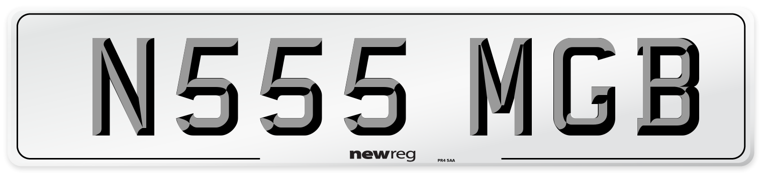 N555 MGB Number Plate from New Reg