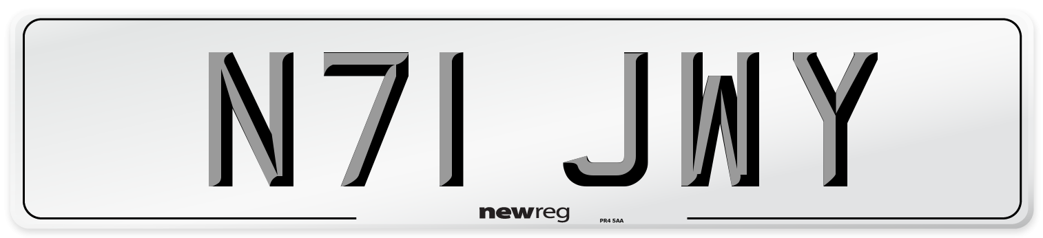 N71 JWY Number Plate from New Reg
