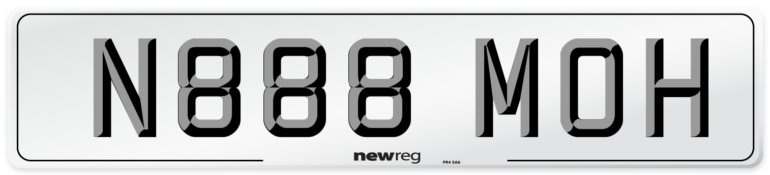 N888 MOH Number Plate from New Reg