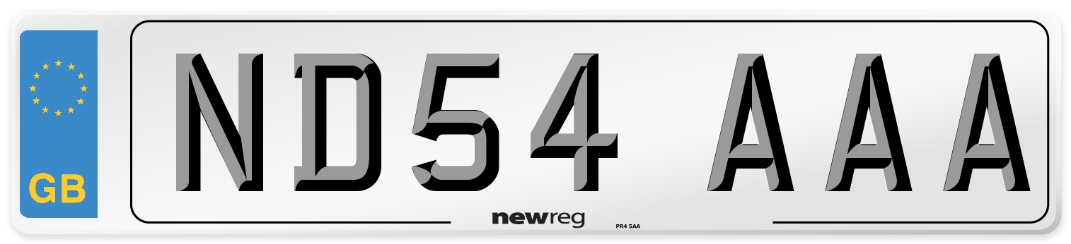 ND54 AAA Number Plate from New Reg
