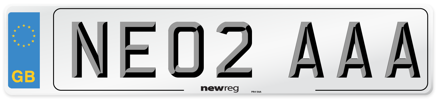 NE02 AAA Number Plate from New Reg