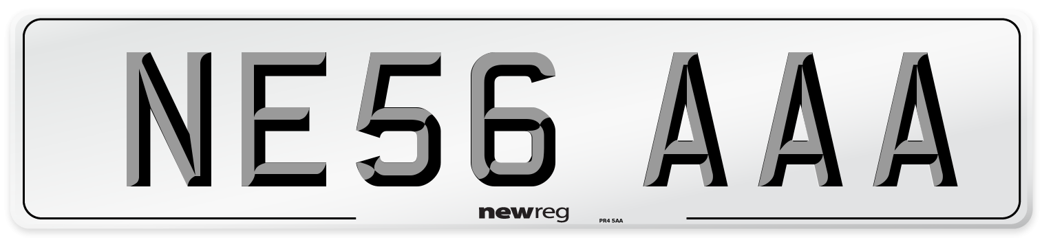 NE56 AAA Number Plate from New Reg