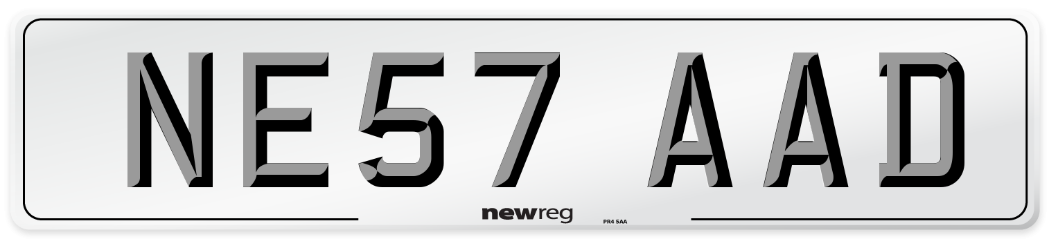 NE57 AAD Number Plate from New Reg