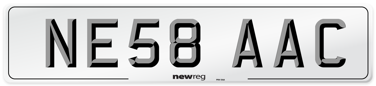 NE58 AAC Number Plate from New Reg