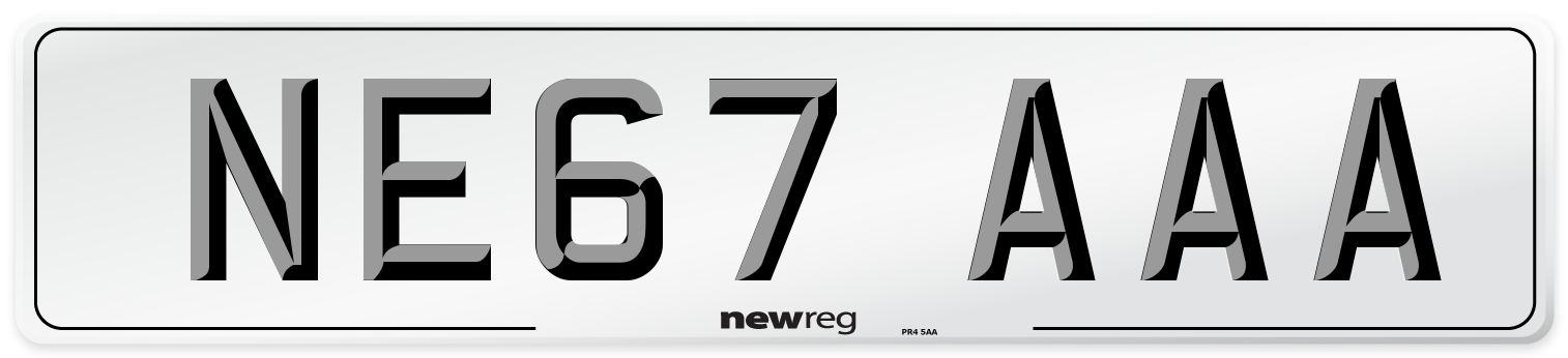 NE67 AAA Number Plate from New Reg