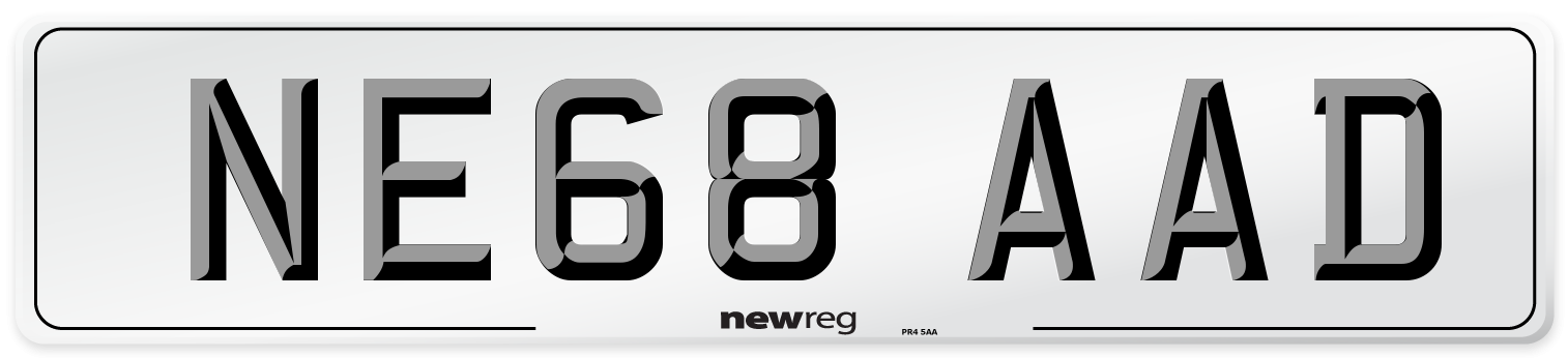 NE68 AAD Number Plate from New Reg