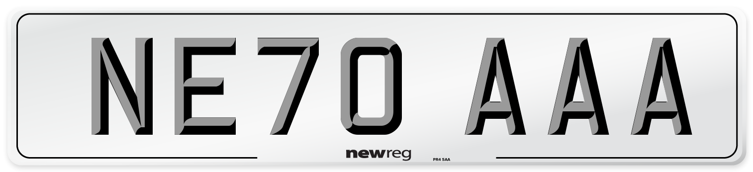 NE70 AAA Number Plate from New Reg