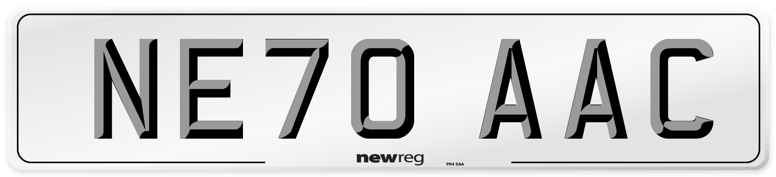 NE70 AAC Number Plate from New Reg