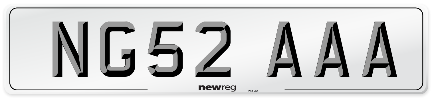 NG52 AAA Number Plate from New Reg