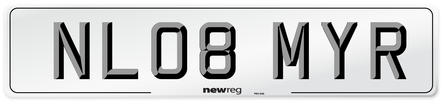 NL08 MYR Number Plate from New Reg