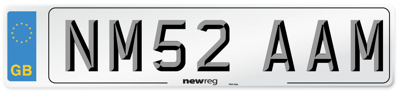 NM52 AAM Number Plate from New Reg