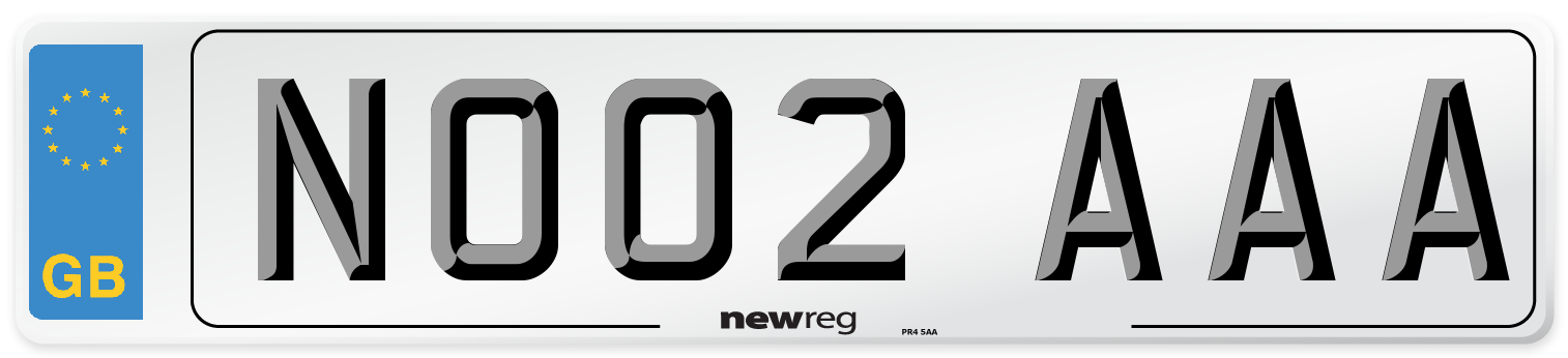 NO02 AAA Number Plate from New Reg