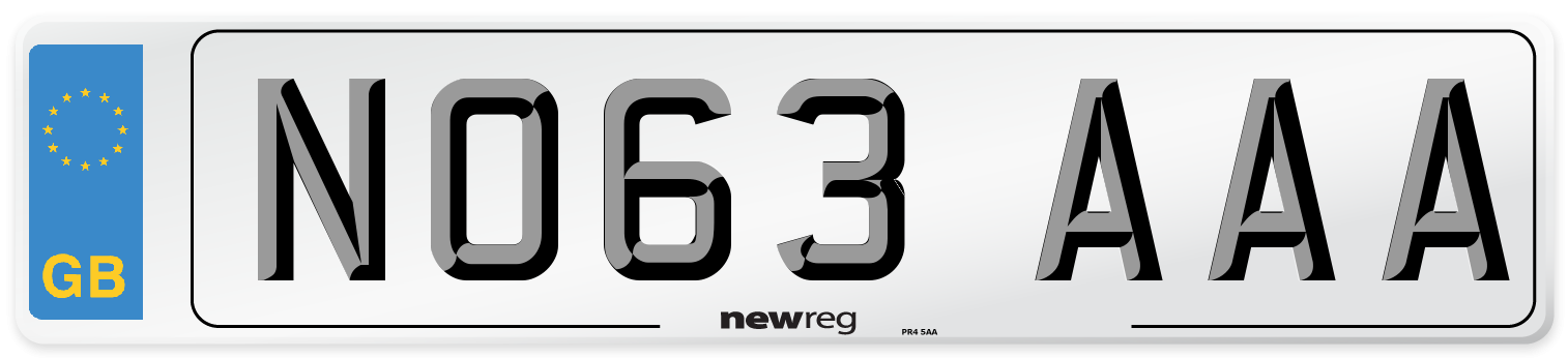 NO63 AAA Number Plate from New Reg