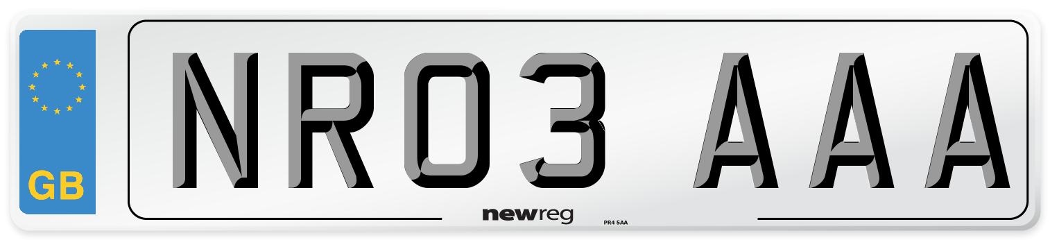 NR03 AAA Number Plate from New Reg