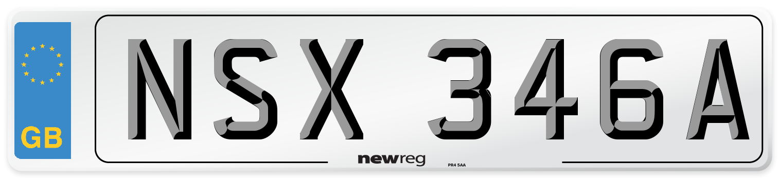 NSX 346A Number Plate from New Reg