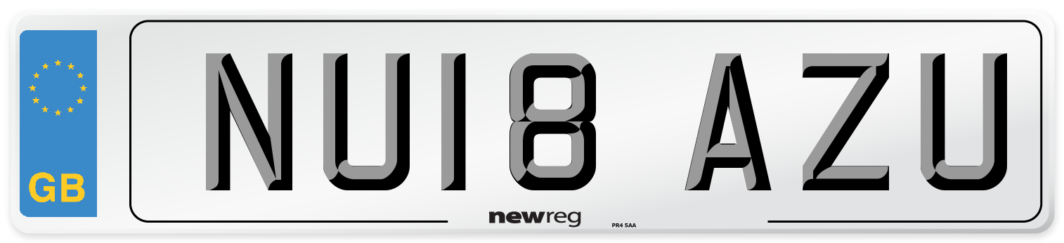 NU18 AZU Number Plate from New Reg