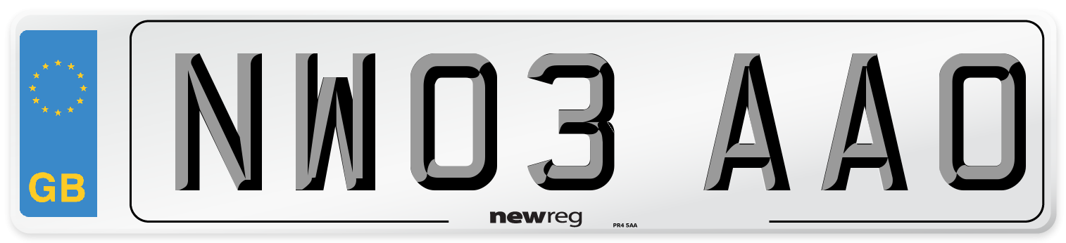 NW03 AAO Number Plate from New Reg