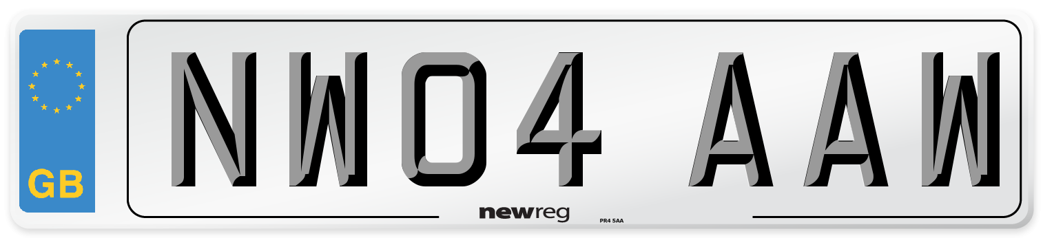 NW04 AAW Number Plate from New Reg