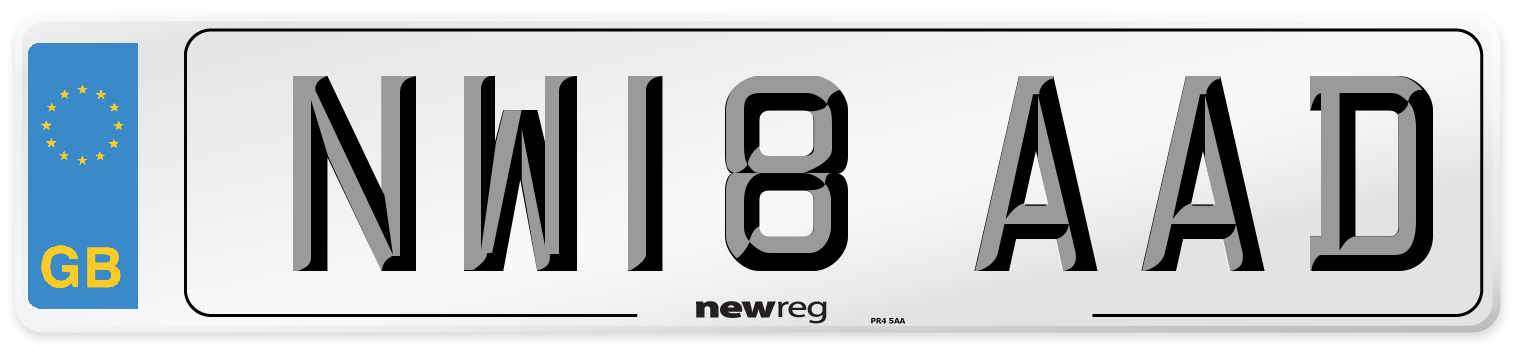 NW18 AAD Number Plate from New Reg