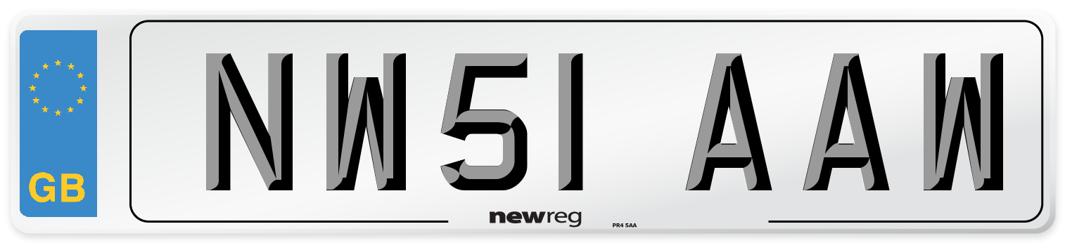 NW51 AAW Number Plate from New Reg