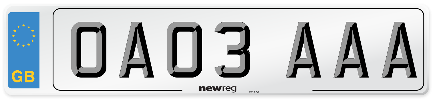 OA03 AAA Number Plate from New Reg