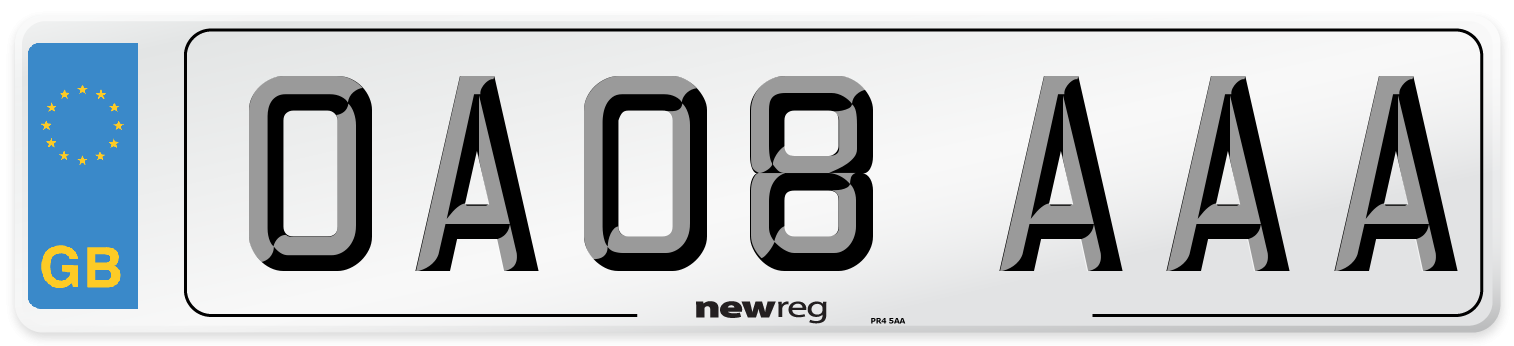 OA08 AAA Number Plate from New Reg