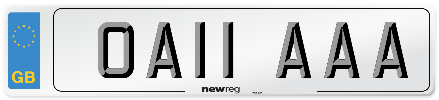 OA11 AAA Number Plate from New Reg