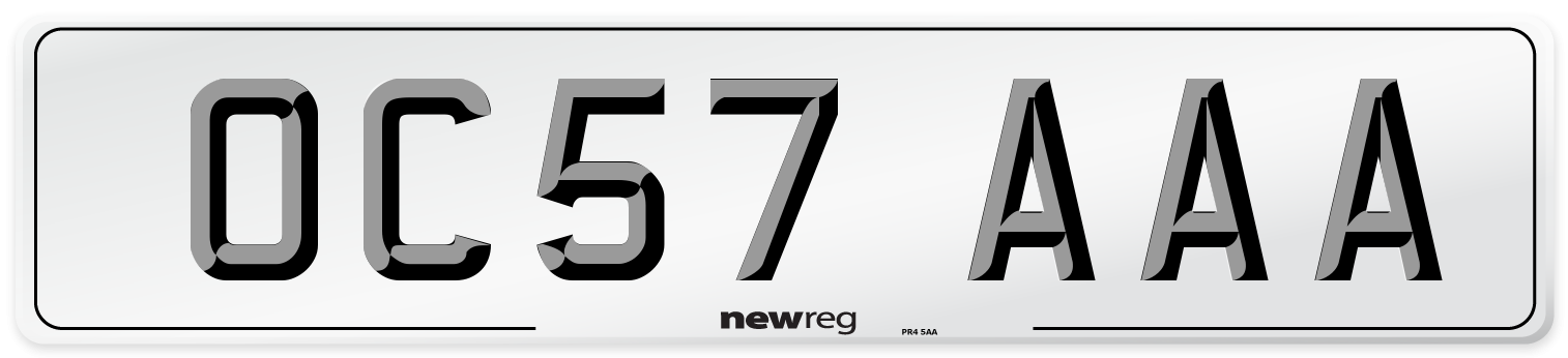 OC57 AAA Number Plate from New Reg