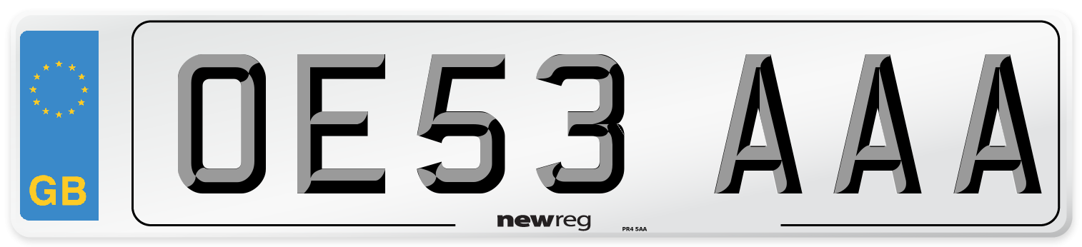 OE53 AAA Number Plate from New Reg