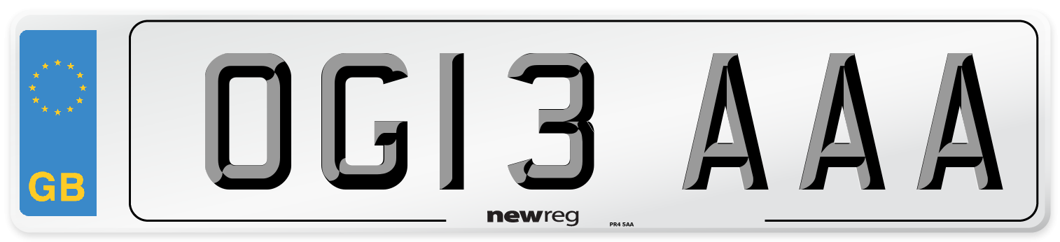 OG13 AAA Number Plate from New Reg