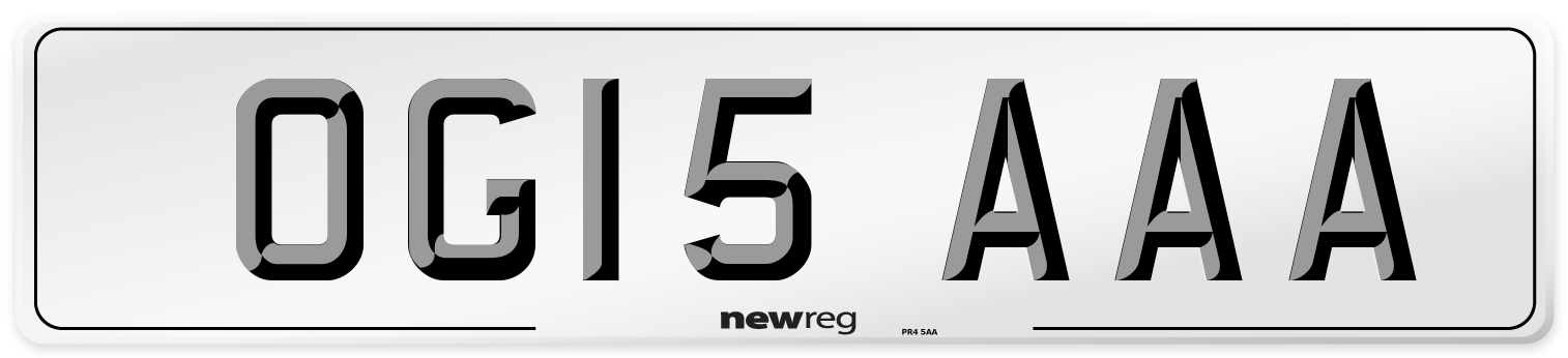 OG15 AAA Number Plate from New Reg