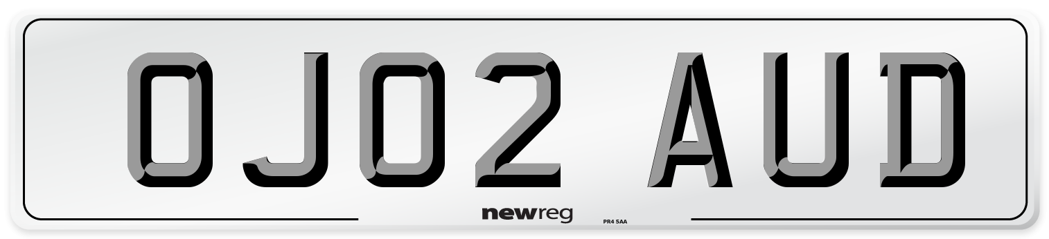 OJ02 AUD Number Plate from New Reg